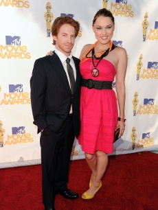 Seth Green and wife Clare Grant pose for photographers on the red carpet at the MTV Movie Awards at the Gibson Amphitheatre at Universal Studios in Universal City, Calif. on June 6, 2010