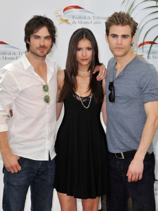 Paul Wesley, Nina Dobrev and Ian Somerhalder pose together at a photocall for 'The Vampire Diaries' during the Monte Carlo Television Festival at Grimaldi Forum in Monte-Carlo, Monaco on June 8, 2010