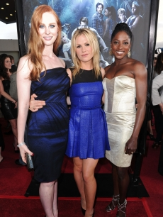 Deborah Ann Woll, Anna Paquin and Rutina Wesley arrive at HBO's 'True Blood' Season 3 premiere held at ArcLight Cinemas Cinerama Dome in Hollywood, California on June 8, 2010