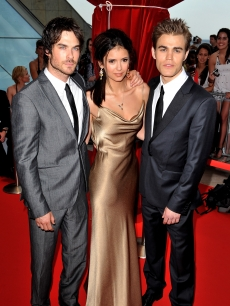'Vampire Diaries' stars Ian Somerhalder, Nina Dobrev and Paul Wesley arrive at the Closing Ceremony of the 2010 Monte Carlo Television Festival held at Grimaldi Forum, Monaco, June 10, 2010