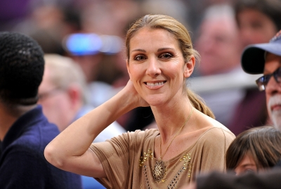 Celine Dion attends the Portland Trailblazers Vs. New York Knicks game at Madison Square Garden in New York City on December 7, 2009