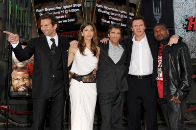 Bradley Cooper, Jessica Biel, Sharlto Copley, Liam Neeson and Quinton 'Rampage' Jackson pose arm-in-arm at the premiere of 20th Century Fox's 'The A-Team' at the Grauman's Chinese Theatre on June 3, 2010 in Los Angeles