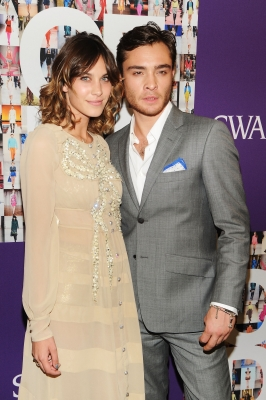 TV personality Alexa Chung poses with Ed Westwick at the CFDA Fashion Awards at Alice Tully Hall, Lincoln Center in New York City on June 7, 2010