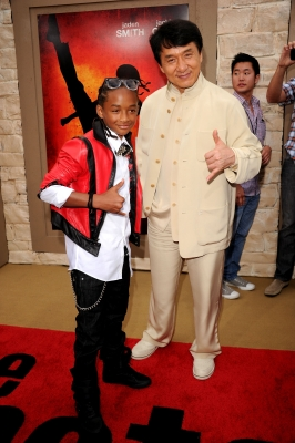 Jaden Smith and Jackie Chan pose at the &#8216;The Karate Kid&#8217; premiere after party at Mann Village Theatre in Westwood, Calif., on June 7, 2010