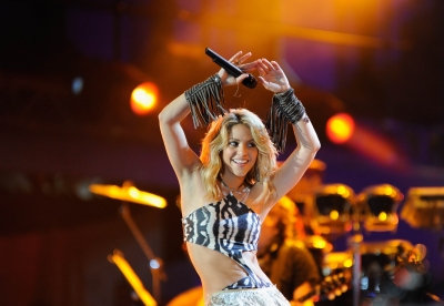 Shakira performs a song during the kick-off celebration concert for the 2010 FIFA World Cup at the Orlando Stadium in Soweto, South Africa on June 10, 2010
