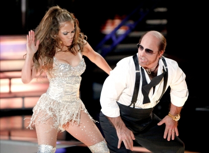Jennifer Lopez and Tom Cruise (in character as Les Grossman) do a dance routine at the 2010 MTV Movie Awards at the Gibson Amphitheatre in LA on June 6, 2010