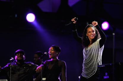 A pregnant Alicia Keys performs a song during the kick-off celebration concert for the 2010 FIFA World Cup at the Orlando Stadium, Soweto, South Africa, June 10, 2010