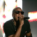 Jay-Z rocks the crowd at the Bonnaroo Music and Arts Festival in Tennessee on June 12, 2010