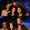 Access Hollywood's Shaun Robinson with the 'Eclipse' Wolf Pack (top) and Shaun with the vampires (bottom)