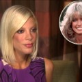 Tori Spelling talks with Access Hollywood (June 16, 2010), Farrah Fawcett inset