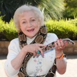 Betty White with a reptilian friend while being honored at the Los Angeles Zoo Association's 40th Annual 'Beastly Ball' at the LA Zoo in LA on June 19, 2010