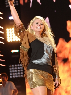 Miranda Lambert smiles at the 2010 CMA Music Festival at LP Field in Nashville, Tennessee, on June 11, 2010