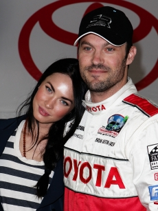 Megan Fox and Brian Austin Green attend the Toyota Grand Prix Pro / Celebrity Race Day in Long Beach, California on April 17, 2010