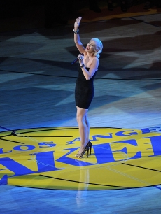 Christina Aguilera sings the national anthem before Game Six of the 2010 NBA Finals between the Los Angeles Lakers and the Boston Celtics at Staples Center, LA, June 15, 2010