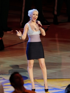 Christina Aguilera performs at Game Seven of the NBA playoff finals between the Boston Celtics and the Los Angeles Lakers during the 2010 NBA Playoff at Staples Center in Los Angeles, California on June 17, 2010