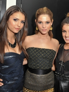 Nina Dobrev, Ashley Greene and Shenae Grimes pose together backstage at the 21st Annual MuchMusic Video Awards at the MuchMusic HQ in Toronto, Canada on June 20, 2010