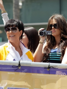 Kris Jenner and Khloe Kardashian celebrate at the victory parade for the Los Angeles Lakers in Los Angeles, Calif., on June 21, 2010