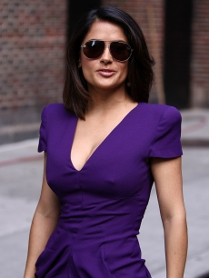 Salma Hayek rocks a purple dress as she heads into the Ed Sullivan Theater for 'Letterman,' NYC, June 21, 2010