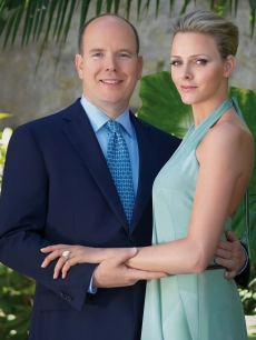 Prince Albert II of Monaco poses with his fiancee Charlene Wittstock on the announcement of their engagement at the Palais de Monaco
