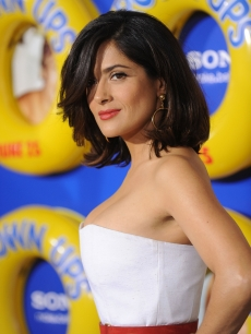 Salma Hayek looks stunning in white at the premiere of 'Grown Ups' at the Ziegfeld Theatre in New York City on June 23, 2010