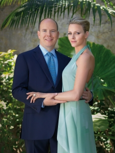 Prince Albert II of Monaco poses with his fiancee, Charlene Wittstock, in a photo provided by the Palais Princier Monaco