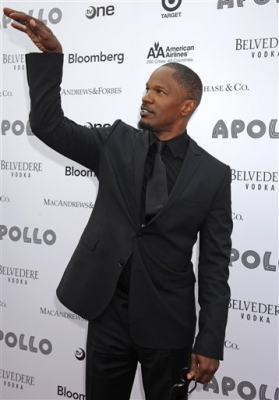 Jamie Foxx poses on the red carpet at the Spring Benefit Concert and Awards Ceremony at The Apollo Theater in New York City on June 14, 2010