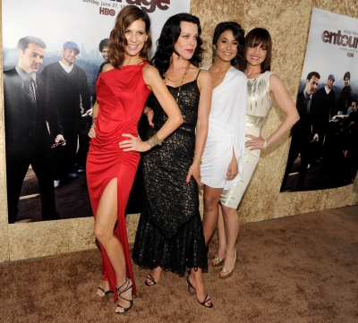 The ladies of 'Entourage' — Perrey Reeves, Debi Mazar, Emmanuelle Chriqui and Carla Gugino — pose at the premiere of HBO's 'Entourage' Season 7 at Paramount Studios in Los Angeles, Calif., on June 16, 2010