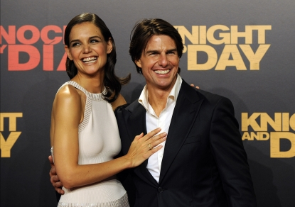 Tom Cruise and wife Katie Holmes attend the 'Knight and Day' premiere at the Lope de Vega Theater in Seville, Spain, June 16, 2010