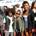 Jaden, Willow and Jada Pinkett Smith make it a family affair at the 2010 BET Awards at the Shrine Auditorium in LA on June 27, 2010