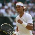 Rafael Nadal on the court during Wimbledon in London on June 26, 2010