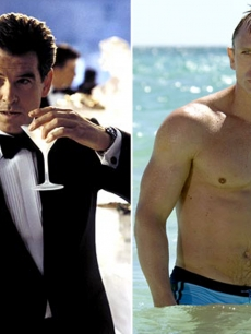 Pierce Brosnan as James Bond in &#8220;Die Another Day,&#8221; 2002 (left), and Daniel Craig in &#8220;Casino Royale,&#8221; 2006 (right)