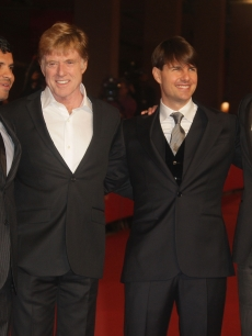Michael Pena, Robert Redford, Tom Cruise and Andrew Garfield attend the 'Lions For Lambs' premiere at the Rome Film Festival, Rome, Italy, Oct. 23, 2007