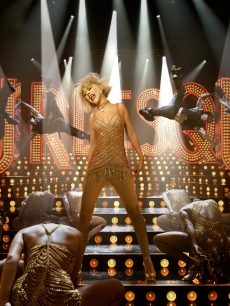 Christina Aguilera goes gold and glamorous in her new film &#8220;Burlesque&#8221;