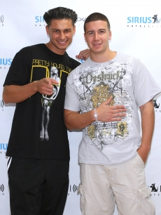 &#8220;Jersey Shore&#8217;s&#8221; stars DJ Pauly D and Vinny Guadagnino visit SIRIUS XM Studio in New York City on July 7, 2010 