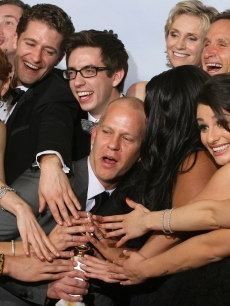 "Ryan Murphy and the cast of ""Glee"" celebrate at the 67th Annual Golden Globe Awards at the Beverly Hilton Hotel in Beverly Hills, Calif., on January 17, 2010"