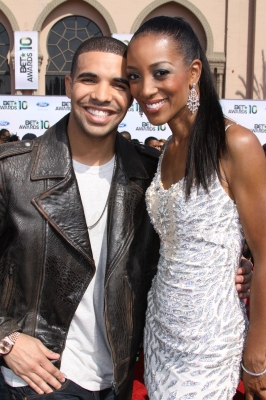 Drake and Access Hollywood's Shaun Robinson smile for the cameras at the BET Awards held at the Shrine Auditorium in Los Angeles, Calif., on June 27, 2010