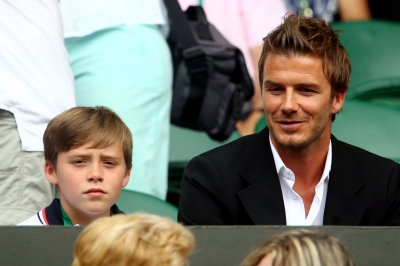 David Beckham hits the stands with son Brooklyn Beckham at Wimbledon, London, July 2, 2010