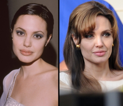 Angelina Jolie in 1998 and in 2010