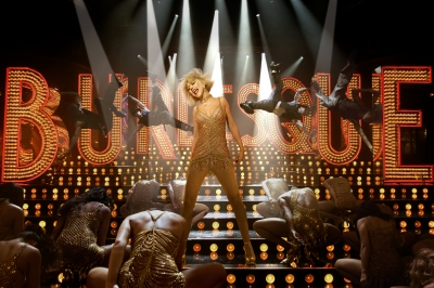 "Christina Aguilera goes gold and glamorous in her new film ""Burlesque"""