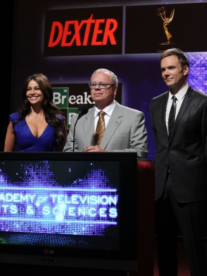 Sofía Vergara, Chairman for the Academy of TV Arts & Sciences John Shaffner and Joel McHale announce the 62nd Primetime Emmy Awards Nominations held at Leonard H. Goldenson Theatre in North Hollywood, California on July 8, 2010