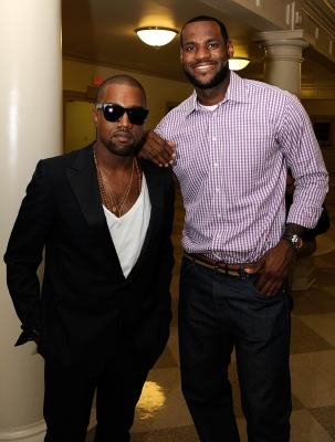 LeBron James and Kanye West pose backstage prior to LeBron's announcement he was joining the Miami Heat at the Boys & Girls Club of America in Greenwich, Conn., on July 8, 2010