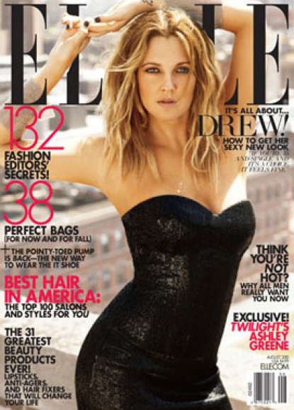 Drew Barrymore on the August 2010 cover of ELLE