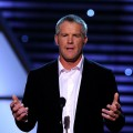 Minnesota Vikings quarterback Brett Favre looks dashing as he speaks on stage during the ESPY Awards at Nokia Theatre L.A. Live in Los Angeles on July 14, 2010