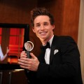 Eddie Redmayne poses with his award for Best Performance by a Featured Actor in a play, at the 64th Annual Tony Awards, New York City, June 13, 2010