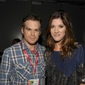 """Dexter"" on-screen siblings and off-screen couple Michael C. Hall and Jennifer Carpenter pose backstage at the ''Dexter"" panel during Comic-Con International at the San Diego Convention Center in San Diego, Calif., on July 22, 2010"