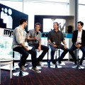 "MTV personality Josh Horowitz talks with ""Tron: Legacy"" actors Garrett Hedlund and Jeff Bridges and director Joseph Kozinski in the MySpace & MTV Tower during Comic-Con International in San Diego, Calif., on July 23, 2010"