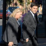 John Stamos arrives at the federal courthouse for the second day of an extortion trial, in which Stamos was the alleged victim, in U.S. District Court in Marquette, Mich. on July 13, 2010