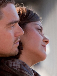"Leonardo DiCaprio and Marion Cotillard share a moment in ""Inception"""