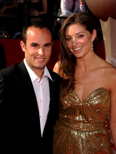 Landon Donovan and wife Bianca Kajlich arrive at the 2010 ESPY Awards at Nokia Theatre L.A. Live in Los Angeles, California on July 14, 2010