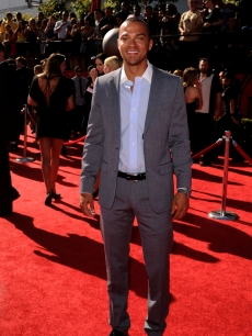 Jesse Williams smiles for the cameras at the ESPY Awards at Nokia Theatre L.A. Live in Los Angeles on July 14, 2010